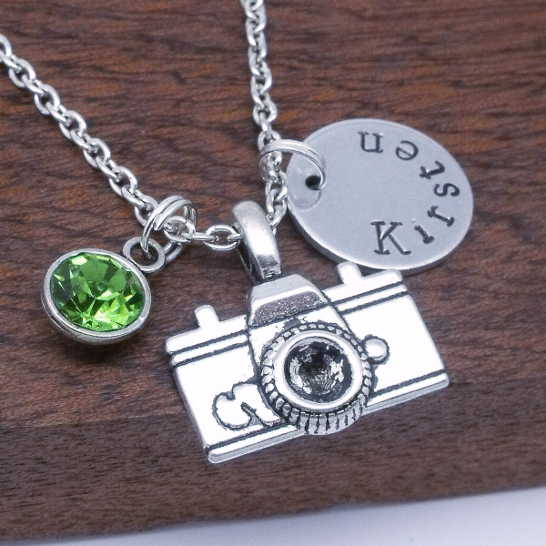 Camera name necklace gift personalised birthstone